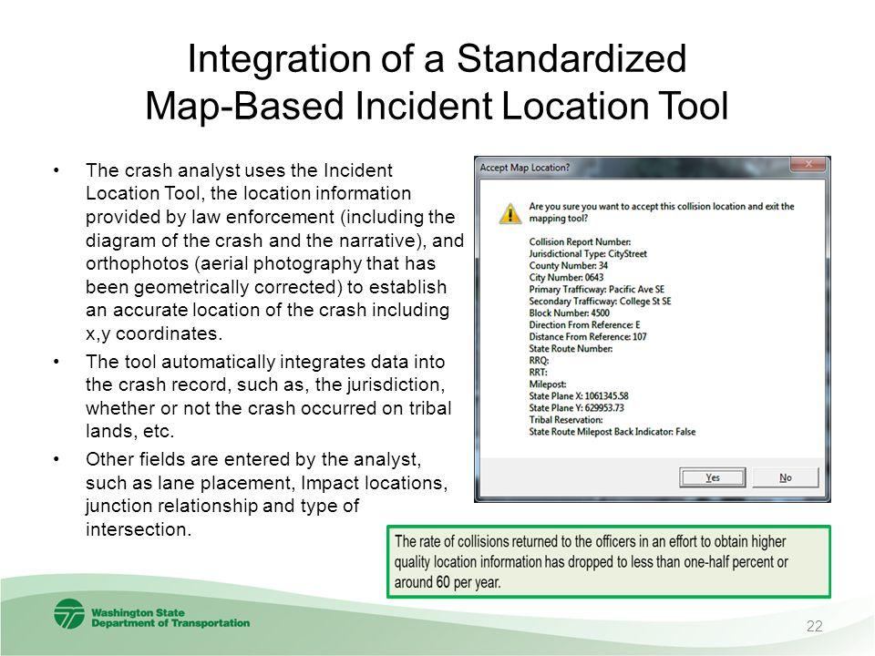 Integration of a Standardized Map-Based Incident Location Tool The crash analyst uses the Incident Location Tool, the location information provided by law enforcement (including the diagram of the crash and the narrative), and orthophotos (aerial photography that has been geometrically corrected) to establish an accurate location of the crash including x,y coordinates.