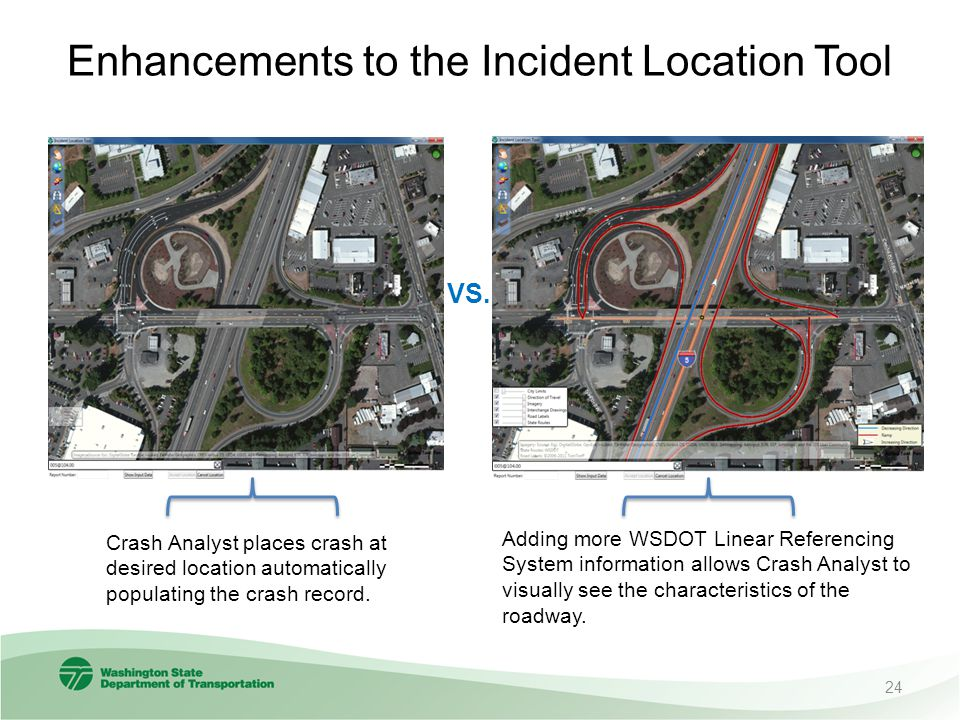 Enhancements to the Incident Location Tool Adding more WSDOT Linear Referencing System information allows Crash Analyst to visually see the characteristics of the roadway.