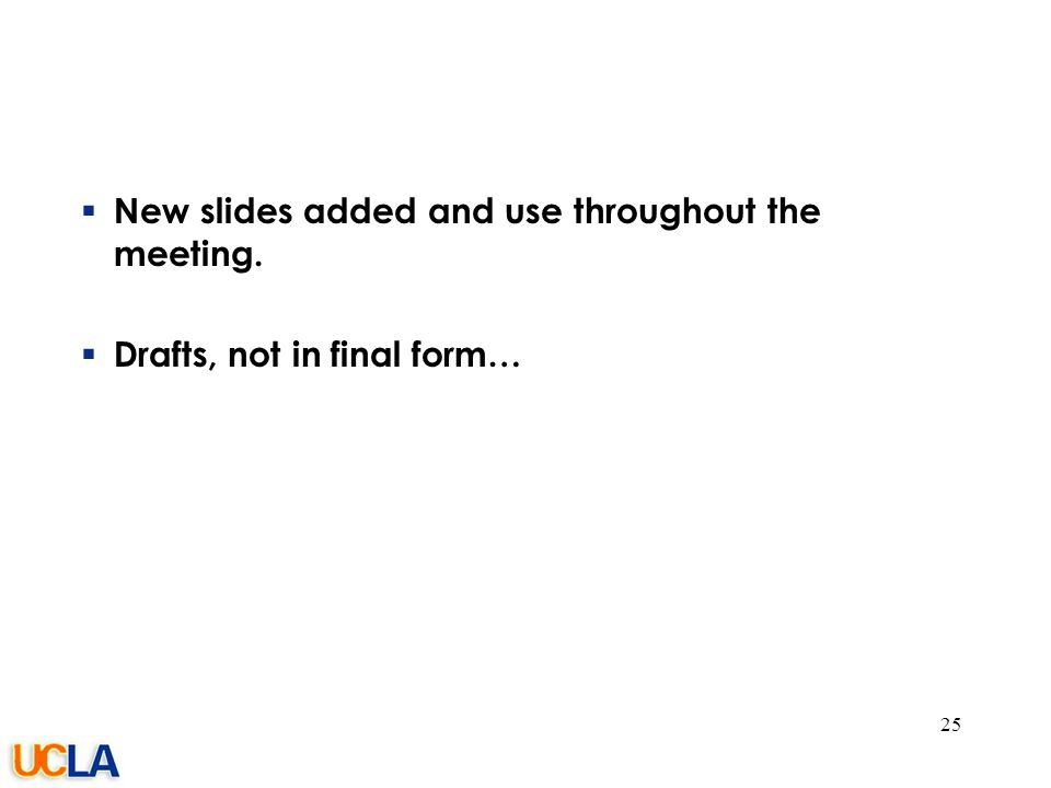 077-05/rs  New slides added and use throughout the meeting.  Drafts, not in final form… 25
