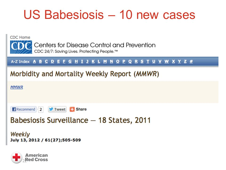 US Babesiosis – 10 new cases 22