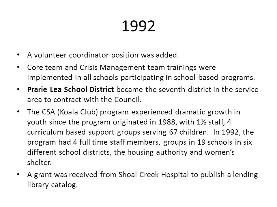 1992 A volunteer coordinator position was added. Core team and Crisis Management team trainings were implemented in all schools participating in schoo