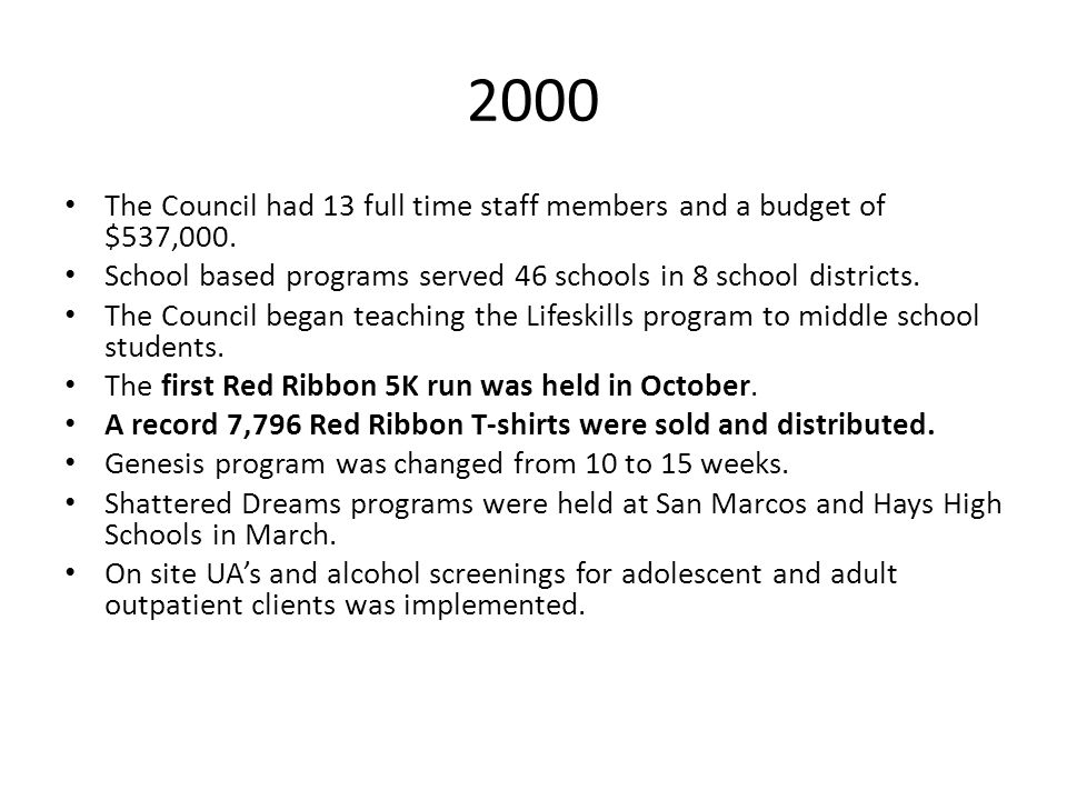 2000 The Council had 13 full time staff members and a budget of $537,000. School based programs served 46 schools in 8 school districts. The Council b
