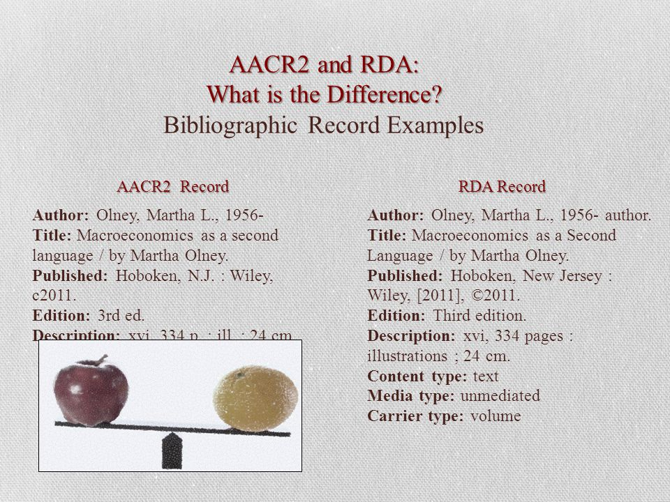 AACR2 and RDA: What is the Difference. AACR2 and RDA: What is the Difference.