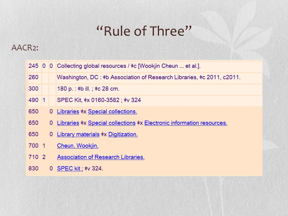 Rule of Three AACR2: