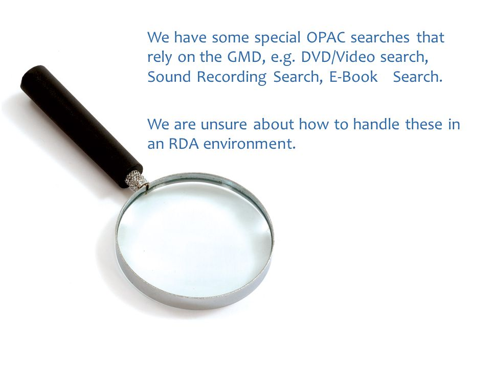 We have some special OPAC searches that rely on the GMD, e.g.