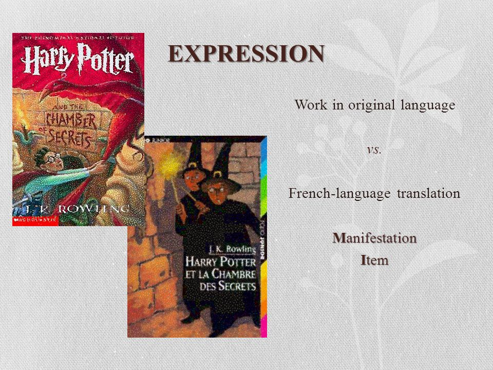 EXPRESSION Work in original language vs. French-language translation Manifestation Item