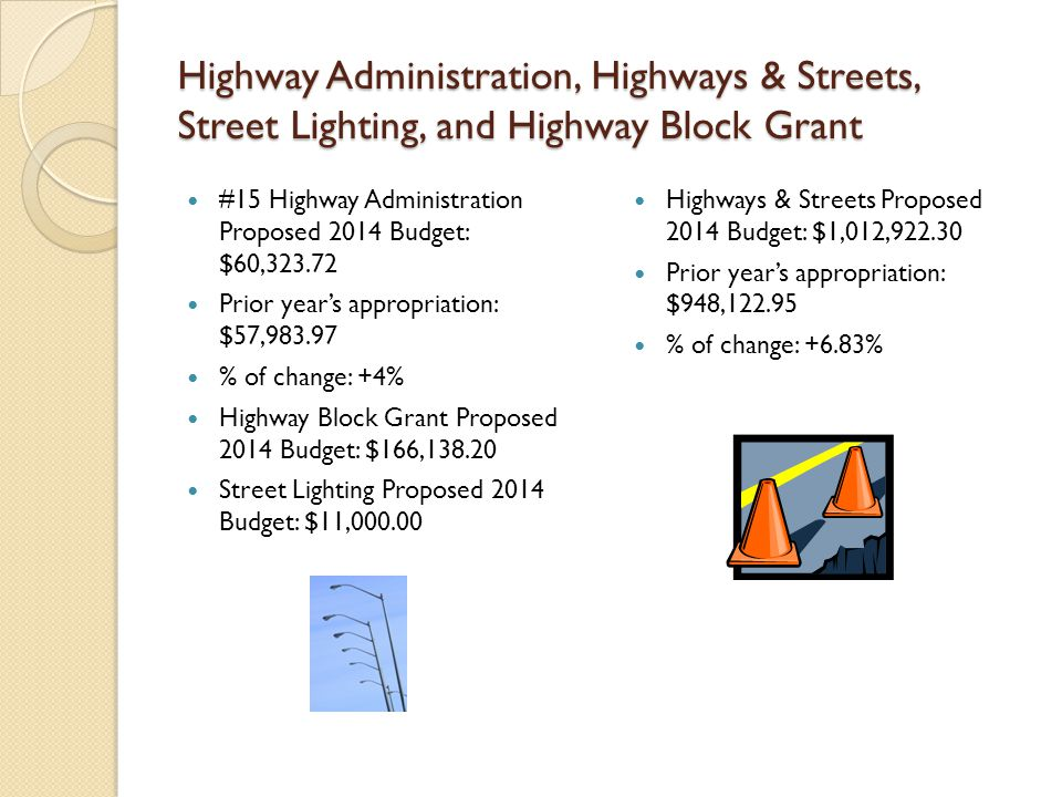 Highway Administration, Highways & Streets, Street Lighting, and Highway Block Grant #15 Highway Administration Proposed 2014 Budget: $60,323.72 Prior year's appropriation: $57,983.97 % of change: +4% Highway Block Grant Proposed 2014 Budget: $166,138.20 Street Lighting Proposed 2014 Budget: $11,000.00 Highways & Streets Proposed 2014 Budget: $1,012,922.30 Prior year's appropriation: $948,122.95 % of change: +6.83%