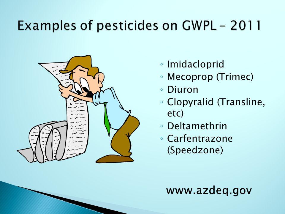 ◦ Imidacloprid ◦ Mecoprop (Trimec) ◦ Diuron ◦ Clopyralid (Transline, etc) ◦ Deltamethrin ◦ Carfentrazone (Speedzone) www.azdeq.gov