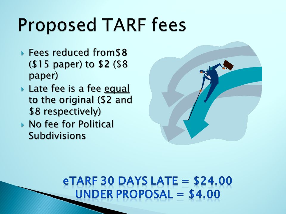  Fees reduced from$8 ($15 paper) to $2 ($8 paper)  Late fee is a fee equal to the original ($2 and $8 respectively)  No fee for Political Subdivisions
