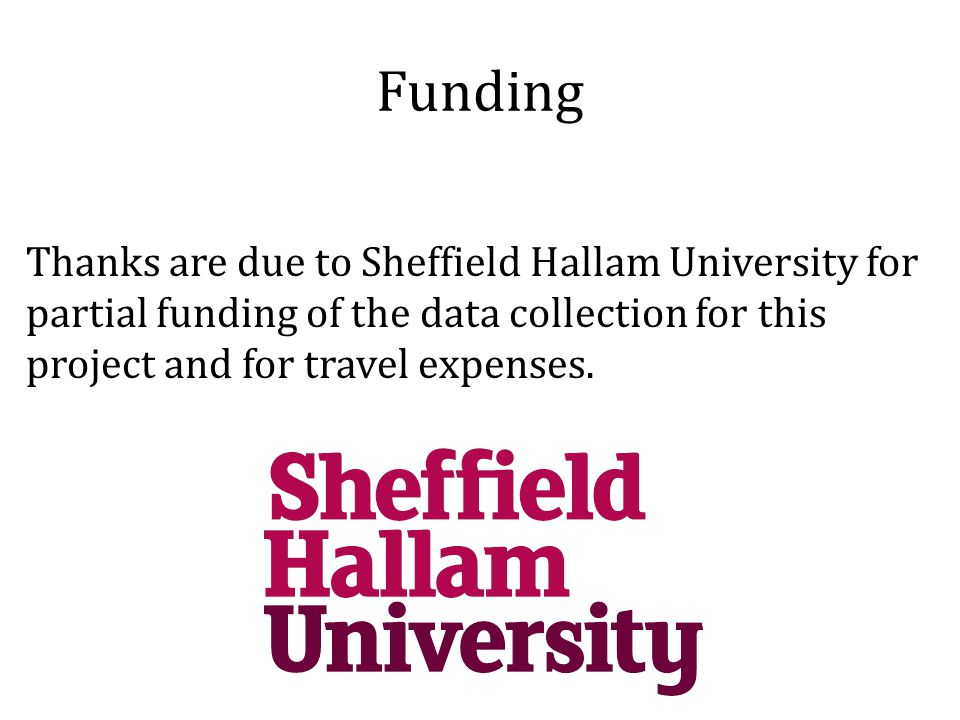 Funding Thanks are due to Sheffield Hallam University for partial funding of the data collection for this project and for travel expenses.