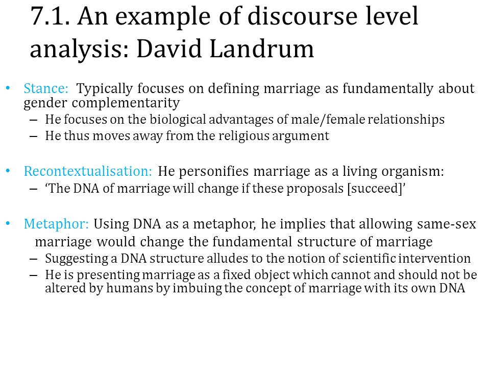7.1. An example of discourse level analysis: David Landrum Stance: Typically focuses on defining marriage as fundamentally about gender complementarit