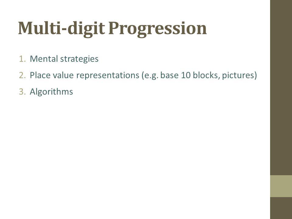 Multi-digit Progression 1.Mental strategies 2.Place value representations (e.g.