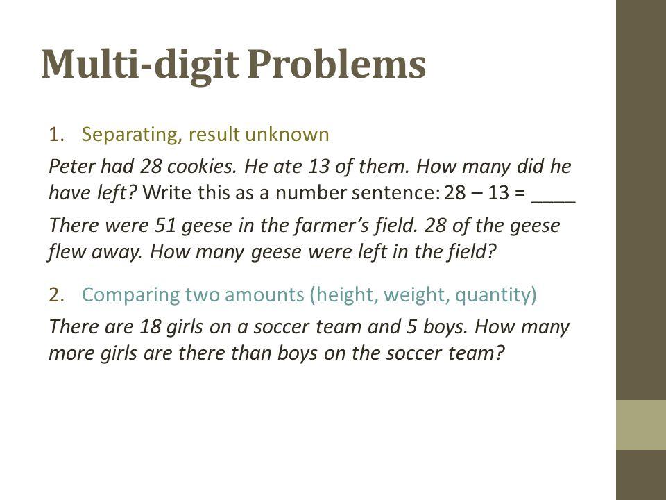 Multi-digit Problems 1.Separating, result unknown Peter had 28 cookies.