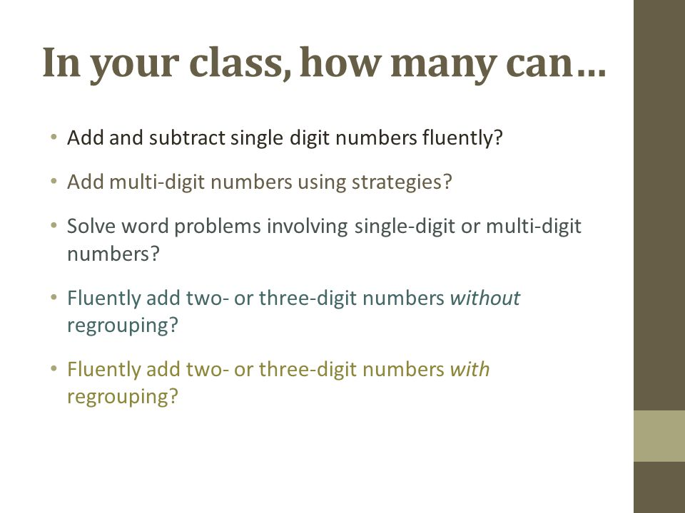 In your class, how many can… Add and subtract single digit numbers fluently.