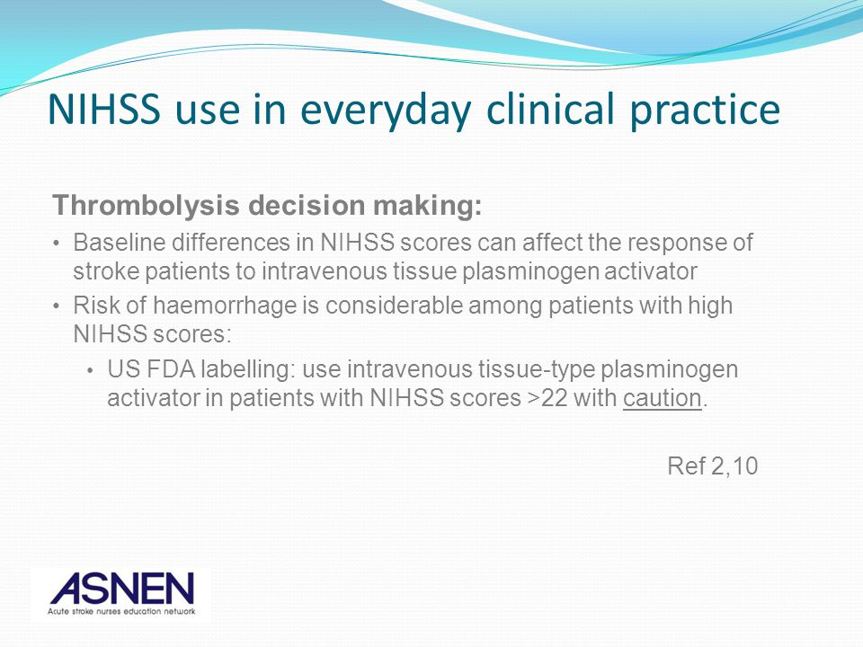 Thrombolysis decision making: Baseline differences in NIHSS scores can affect the response of stroke patients to intravenous tissue plasminogen activa