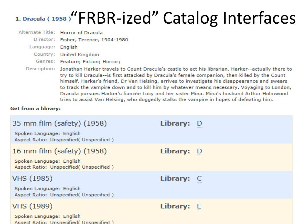 FRBR-ized Catalog Interfaces