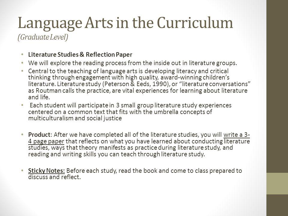 Advanced Studies in Children's Literature (Graduate Level) 1.Response Journal 2.Learning Blog 3.Author/illustrator Study 4.Critical Literary Analysis 5.Genre Presentations 6.