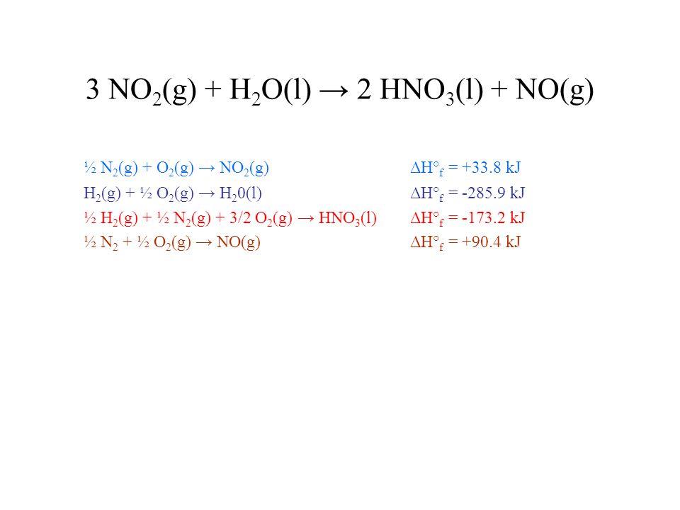 3 NO 2 (g) + H 2 O(l) → 2 HNO 3 (l) + NO(g) ½ N 2 (g) + O 2 (g) → NO 2 (g) ΔH° f = +33.8 kJ H 2 (g) + ½ O 2 (g) → H 2 0(l) ΔH° f = -285.9 kJ ½ H 2 (g) + ½ N 2 (g) + 3/2 O 2 (g) → HNO 3 (l) ΔH° f = -173.2 kJ ½ N 2 + ½ O 2 (g) → NO(g) ΔH° f = +90.4 kJ