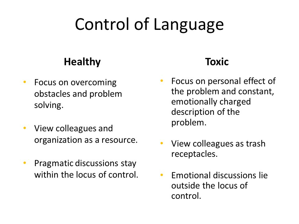 Control of Language HealthyToxic Focus on overcoming obstacles and problem solving.