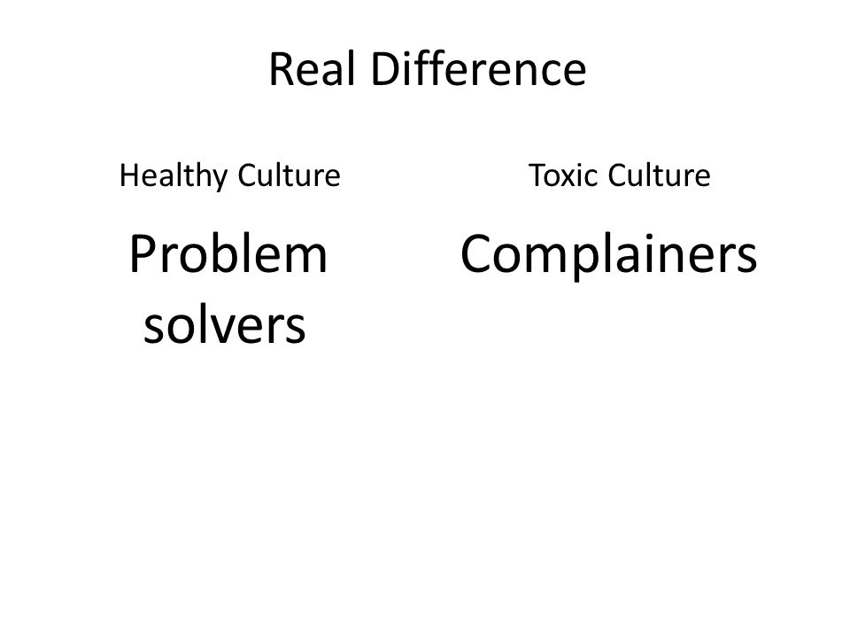 Real Difference Problem solvers Complainers Healthy CultureToxic Culture