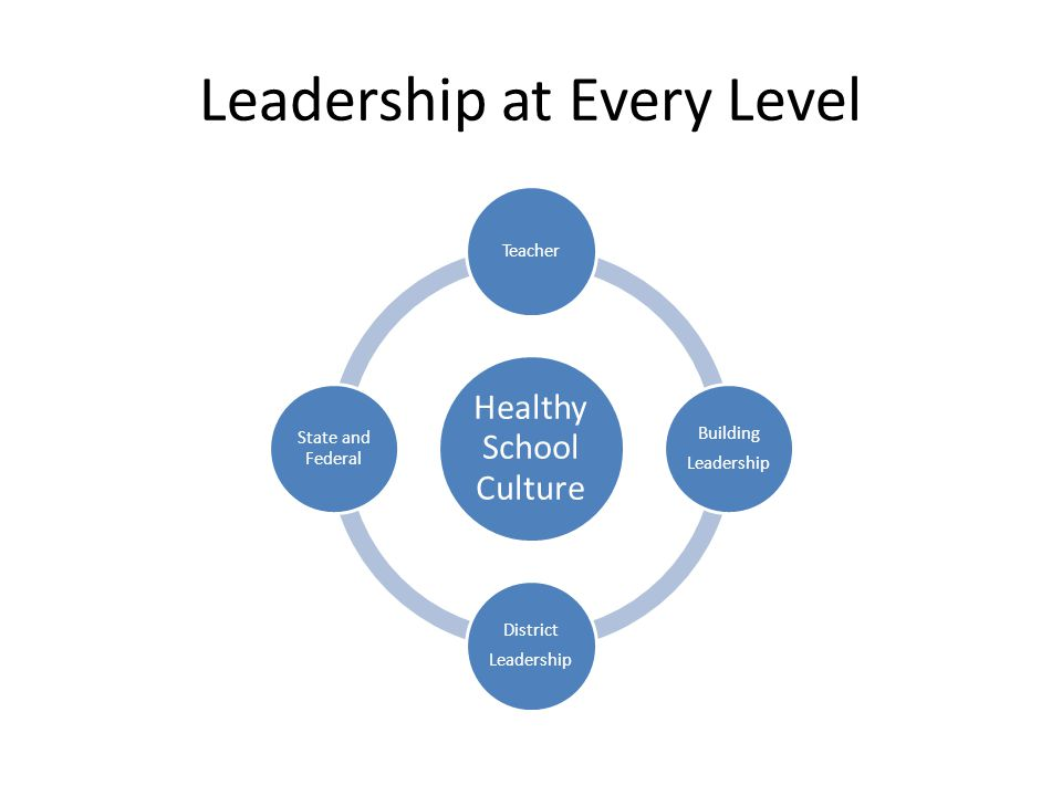 Leadership at Every Level Healthy School Culture Teacher Building Leadership District Leadership State and Federal