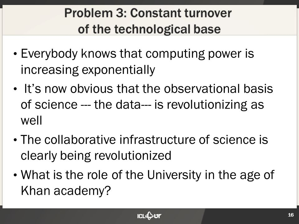 Problem 3: Constant turnover of the technological base Everybody knows that computing power is increasing exponentially It's now obvious that the observational basis of science --- the data--- is revolutionizing as well The collaborative infrastructure of science is clearly being revolutionized What is the role of the University in the age of Khan academy.