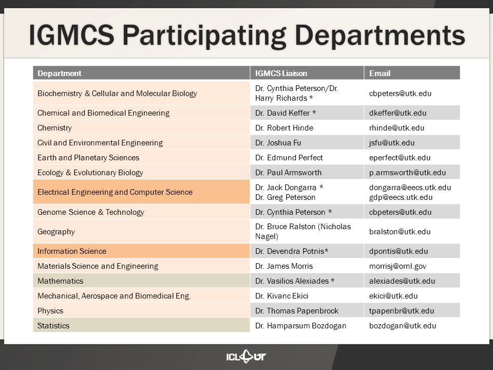 10 Program Administration IGMCS Program Committee (6 to 8 people ) Subset of the Program Faculty 1-2 representatives from each of the colleges involved Renewable 2 year terms Responsible for oversight: program requirements, approving courses and department programs, student course selection, etc.