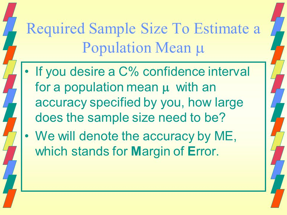 Determining Sample Size to Estimate 