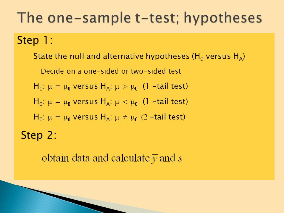 As in any hypothesis tests, a hypothesis test for  requires a few steps: 1.State the null and alternative hypotheses (H 0 versus H A ) a)Decide on a one-sided or two-sided test 2.Calculate the test statistic t and determine its degrees of freedom 3.Find the area under the t distribution with the t-table or technology 4.Determine the P-value with technology (or find bounds on the P-value) and interpret the result
