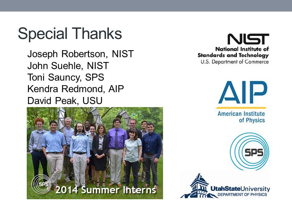 Special Thanks Joseph Robertson, NIST John Suehle, NIST Toni Sauncy, SPS Kendra Redmond, AIP David Peak, USU