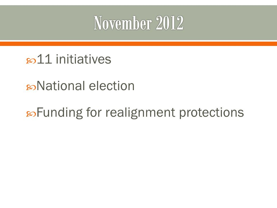  11 initiatives  National election  Funding for realignment protections
