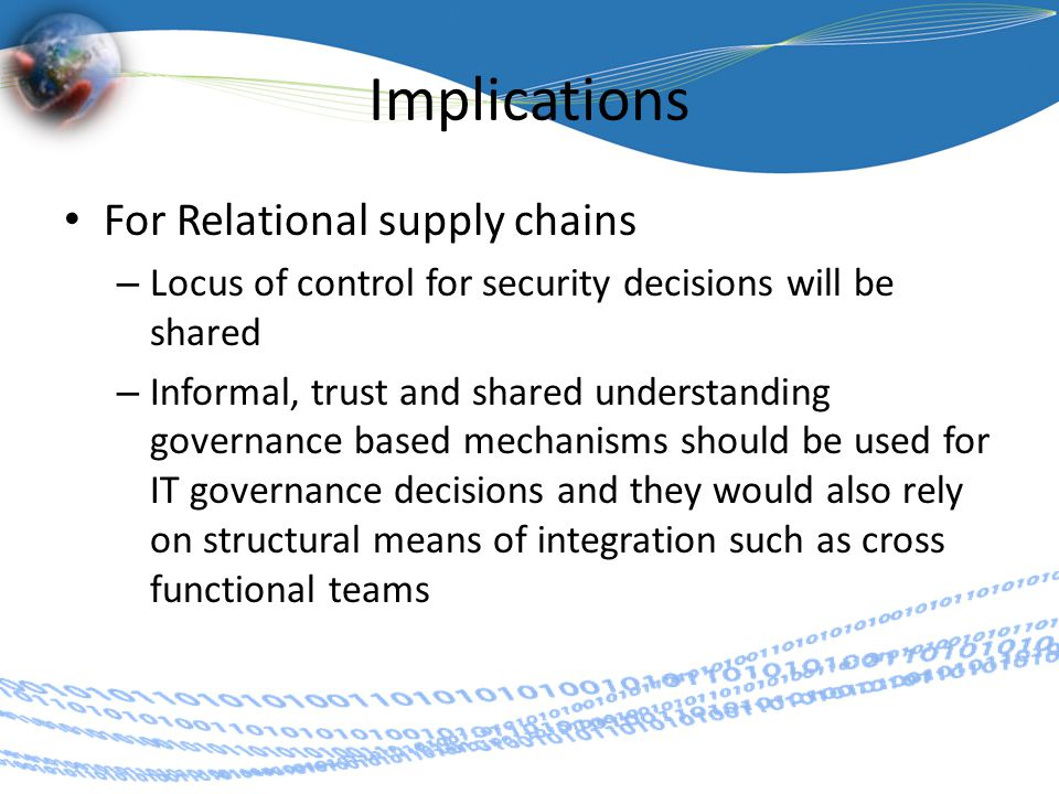 Implications For Relational supply chains – Locus of control for security decisions will be shared – Informal, trust and shared understanding governance based mechanisms should be used for IT governance decisions and they would also rely on structural means of integration such as cross functional teams