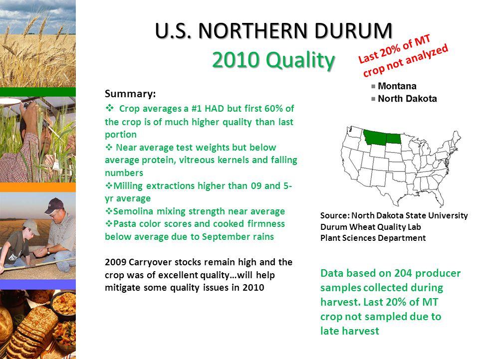 U.S. NORTHERN DURUM 2010 Quality Source: North Dakota State University Durum Wheat Quality Lab Plant Sciences Department Summary:  Crop averages a #1