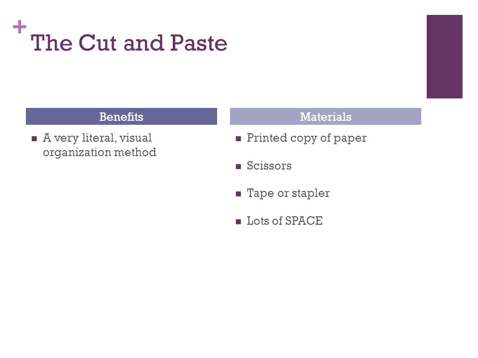 + The Cut and Paste 1.Cut up each paragraph or sentence cluster 1.