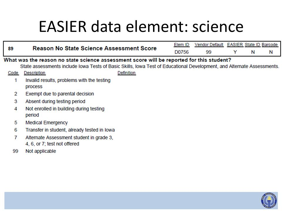 EASIER data element: science