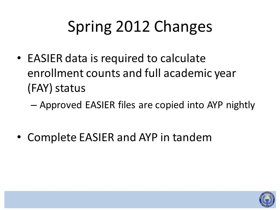 Spring 2012 Changes EASIER data is required to calculate enrollment counts and full academic year (FAY) status – Approved EASIER files are copied into AYP nightly Complete EASIER and AYP in tandem