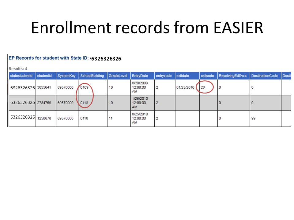 Enrollment records from EASIER 6326326326