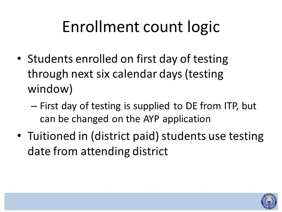 Enrolled, not tested EASIER data elements – Reason no state reading assessment score – Reason no state math assessment score – Reason no state science assessment score