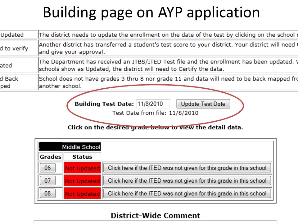 Building page on AYP application