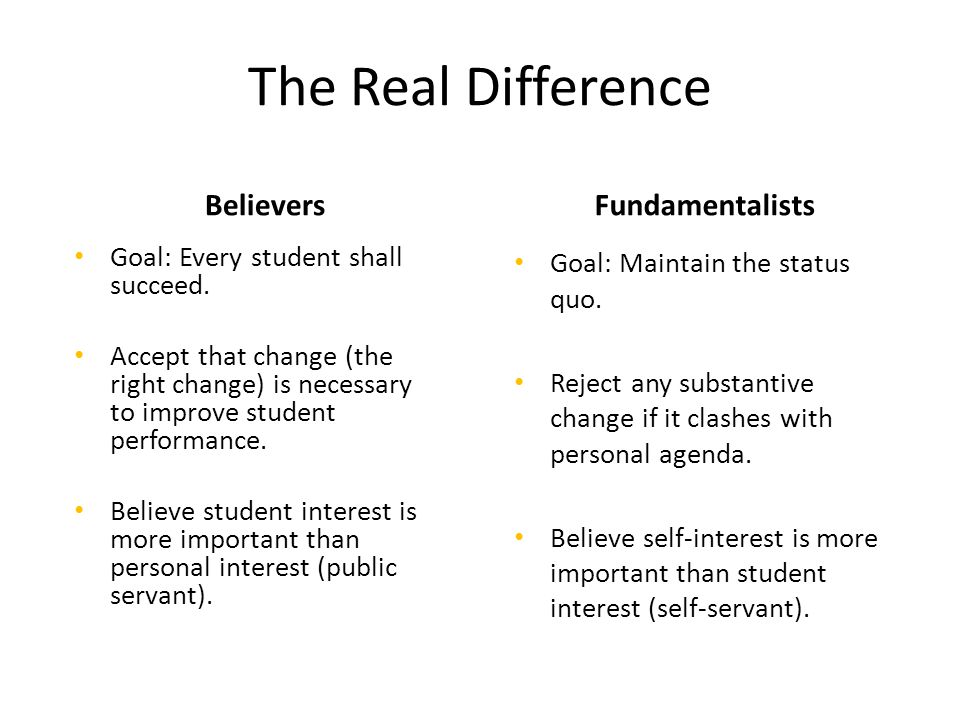 The Real Difference Believers Goal: Every student shall succeed.