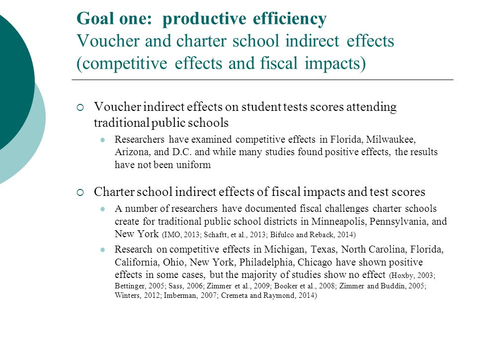 Goal one: productive efficiency Voucher and charter school indirect effects (competitive effects and fiscal impacts)  Voucher indirect effects on stu