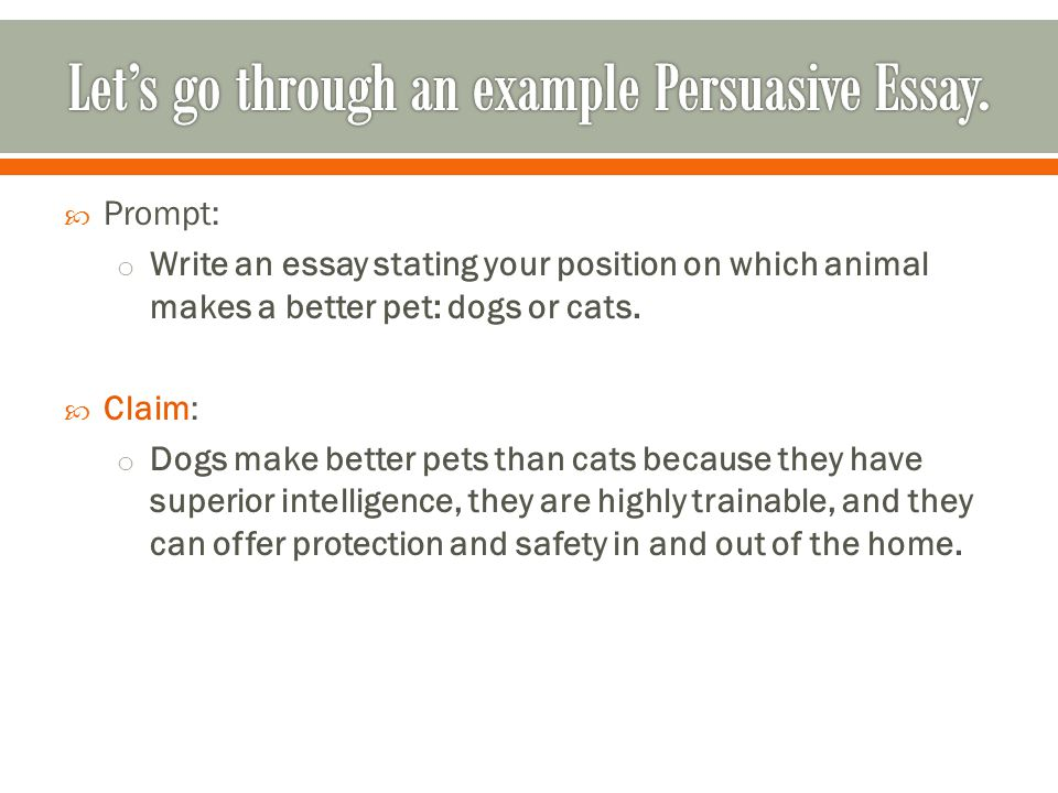  Prompt: o Write an essay stating your position on which animal makes a better pet: dogs or cats.