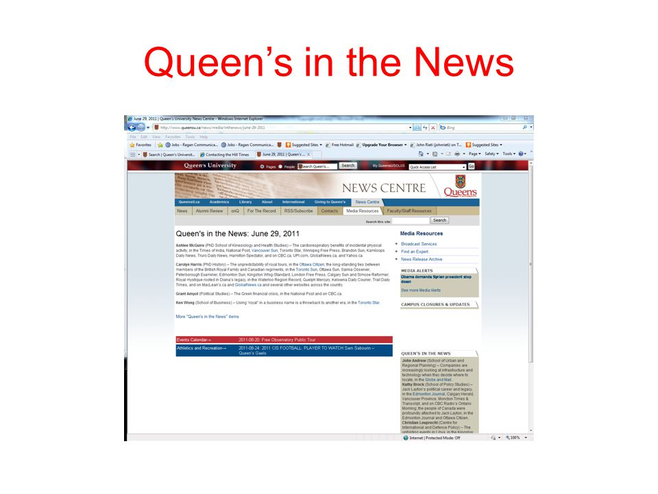 Queen's in the News