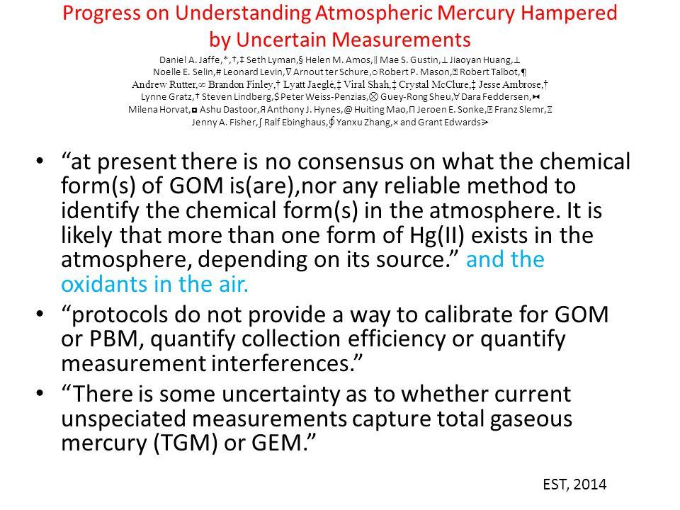 Progress on Understanding Atmospheric Mercury Hampered by Uncertain Measurements Daniel A. Jaffe,*,†,‡ Seth Lyman,§ Helen M. Amos, ∥ Mae S. Gustin, ⊥