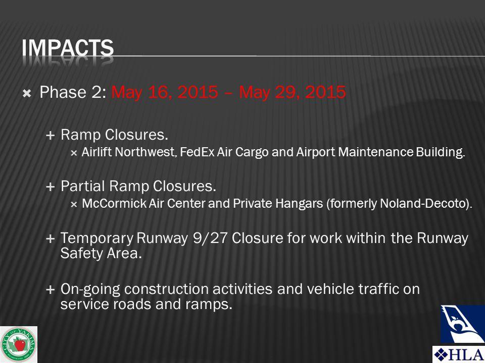  Phase 2: May 16, 2015 – May 29, 2015  Ramp Closures.