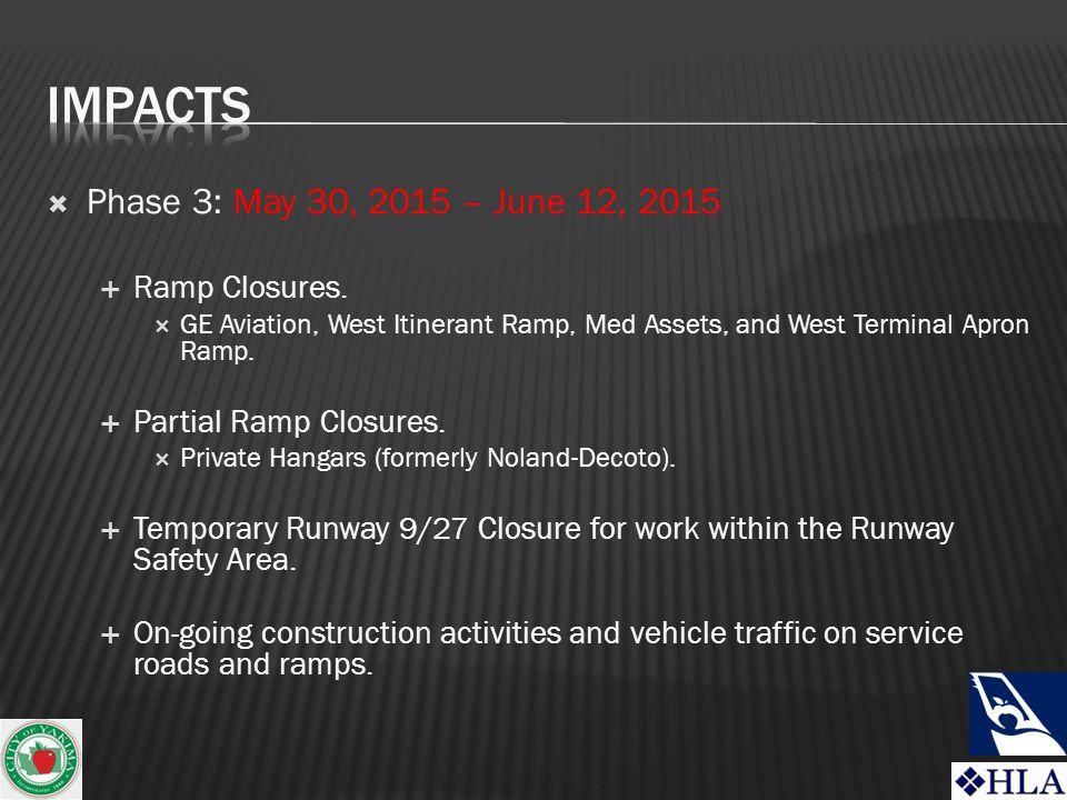  Phase 3: May 30, 2015 – June 12, 2015  Ramp Closures.