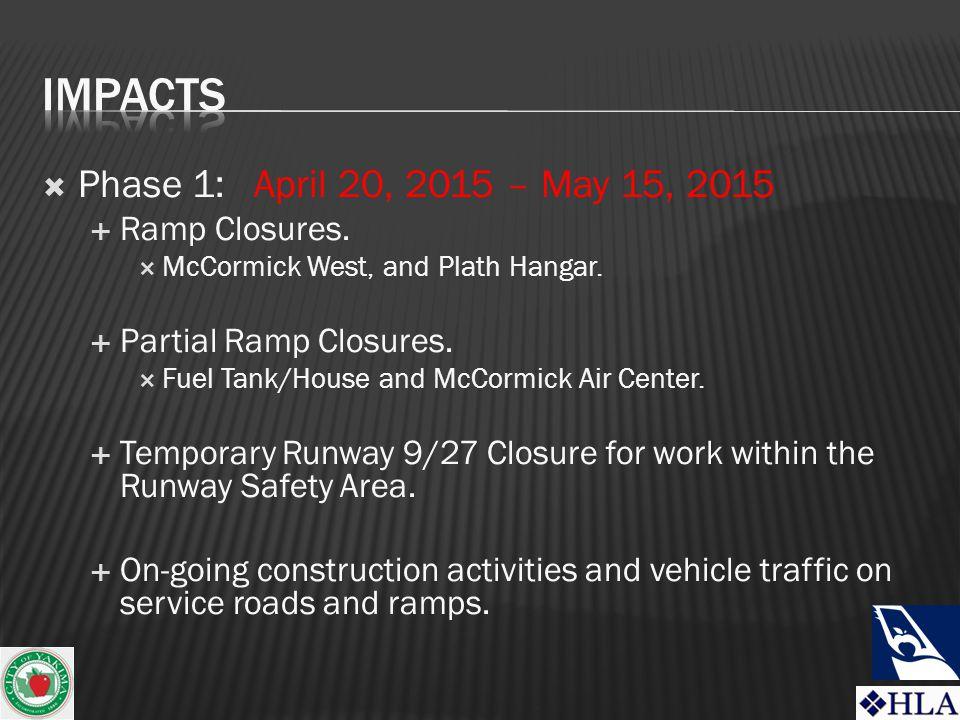 Phase 1: April 20, 2015 – May 15, 2015  Ramp Closures.
