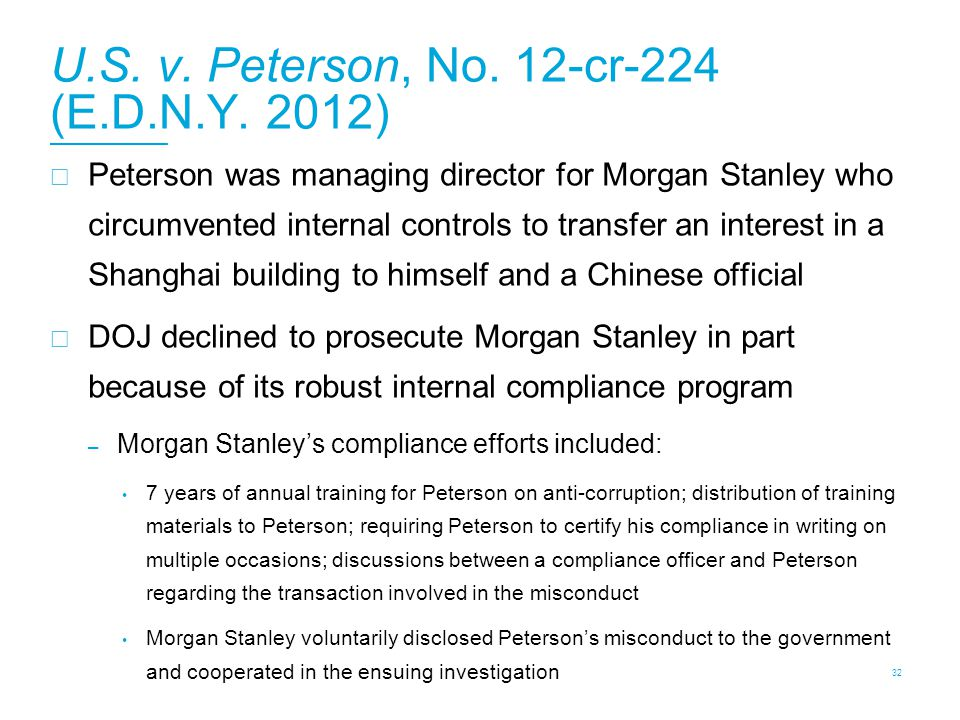 U.S. v. Peterson, No. 12-cr-224 (E.D.N.Y. 2012)  Peterson was managing director for Morgan Stanley who circumvented internal controls to transfer an