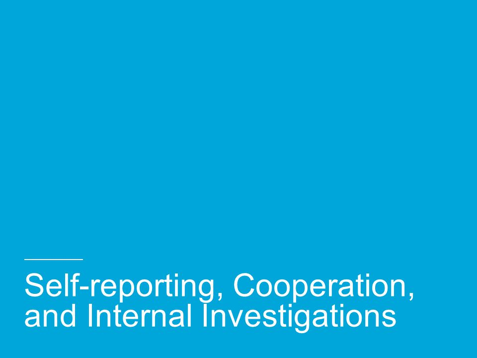 Self-reporting, Cooperation, and Internal Investigations