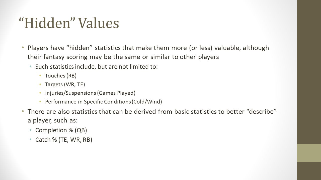 """""""Hidden"""" Values Players have """"hidden"""" statistics that make them more (or less) valuable, although their fantasy scoring may be the same or similar to"""